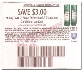 "$3.00/2 Suave Hair Care Coupon from ""SAVE"" insert week of 3/28/21 (exp 4/10).(Formerly Known as RMN)"