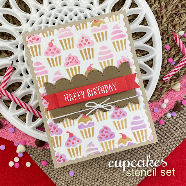 Birthday Cupcake Card by Jennifer Jackson | Cupcakes Stencil Set, Birthday Roundabout Stamp Set, Banner Trio Die Set, Frames & Flags Die Set and Land Borders Die Set by Newton's Nook Designs #newtonsnook #handmade
