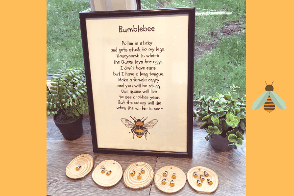 KRK prints bee print with poem