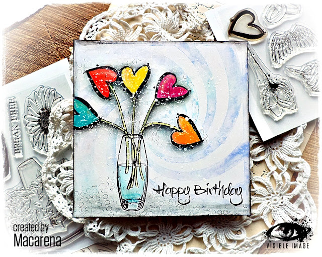 heart flowers | vase | stamps | Birthday card