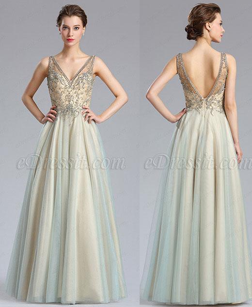 eDressit Sparkly V Cut Beaded Women Evening Dresses