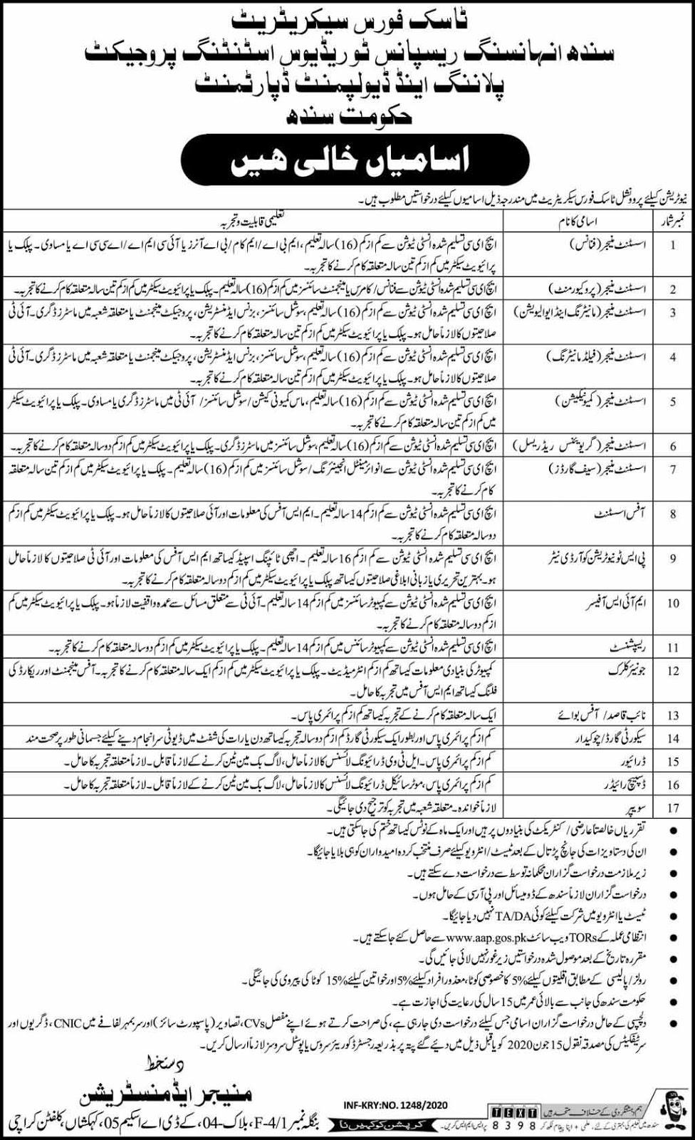 Jobs in Task Force Secretariat Govt of Sindh 16 May 2020