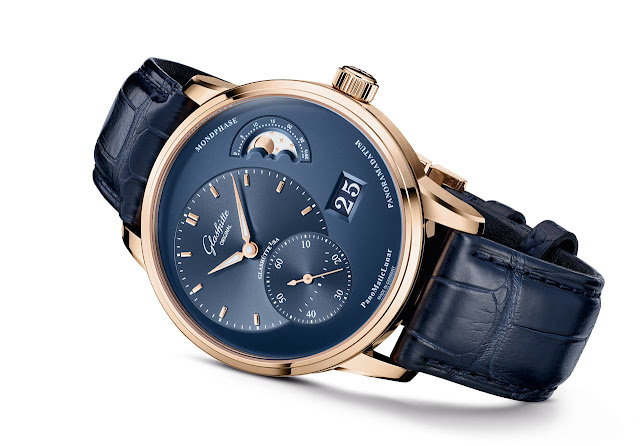 Glashütte Original PanoMaticLunar in red gold with blue dials