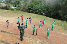 Satgas Pamtas Yonif 407 Latihkan PBB ke Pelajar SDN 25 Perimpah Sei Amplas