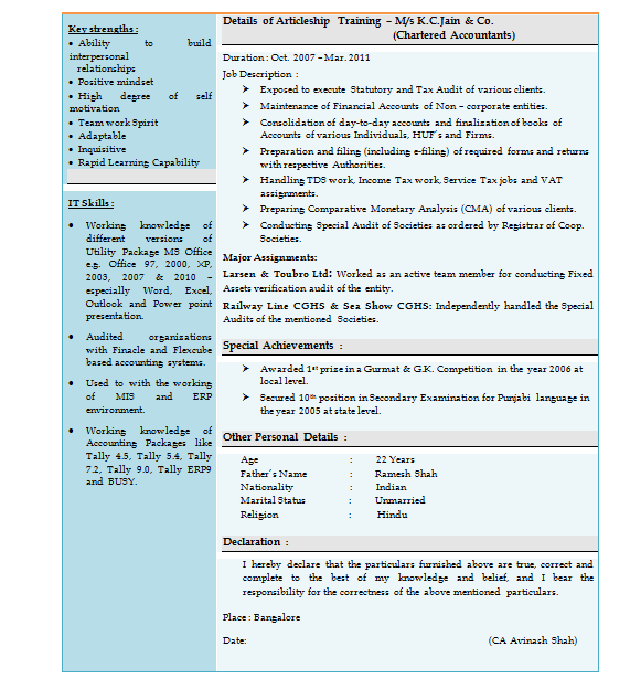 Resume Format For Freshers For Accountant: Over 10000 CV And Resume Samples With Free Download