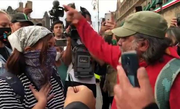 Padre de desaparecido pone en su lugar a feminista por pintas en Palacio Nacional