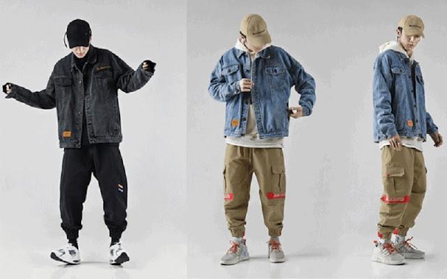 phối đồ với áo khoác jean nam rộng và kaki túi hộp