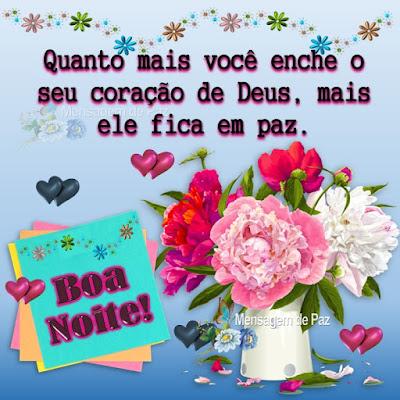 Quanto mais você enche o seu coração  de Deus, mais ele fica em paz.  Boa Noite!
