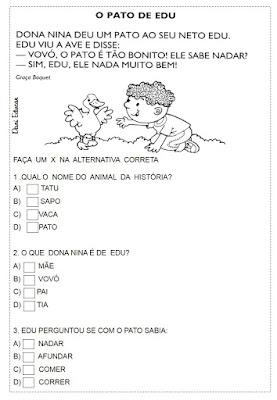 Atividades de leitura, Atividades de Interpretações de texto, 1º ano, 2º ano, leitura, Atividades de alfabetização, Textos, para imprimir,