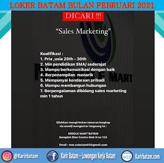 Lowongan Kerja Sales Marketing Middle Mart Batam