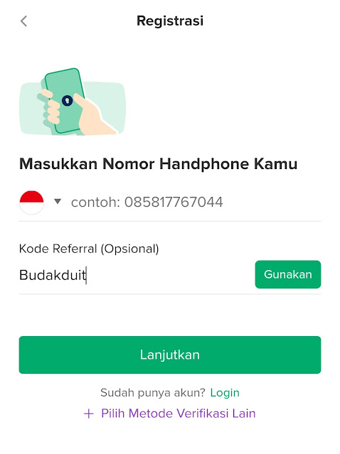 Masukkan Nomor Handphone dan Kode Referral