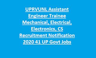 UPRVUNL Assistant Engineer Trainee Mechanical, Electrical, Electronics, CS Recruitment Notification 2020 41 UP Govt Jobs
