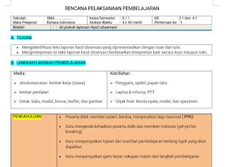 Download RPP 1 Lembar Bahasa Indonesia SMA/SMK Kelas 10 Semester 1
