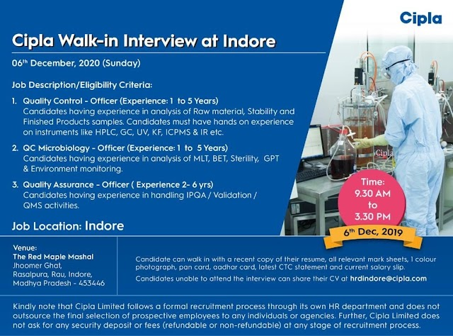 Cipla | Walk-in interview for QA/QC 6th Dec 2020