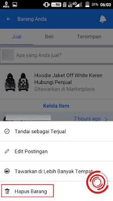 5. Untuk menghapus barang di Marketplace Facebook, silakan pilih Hapus Barang
