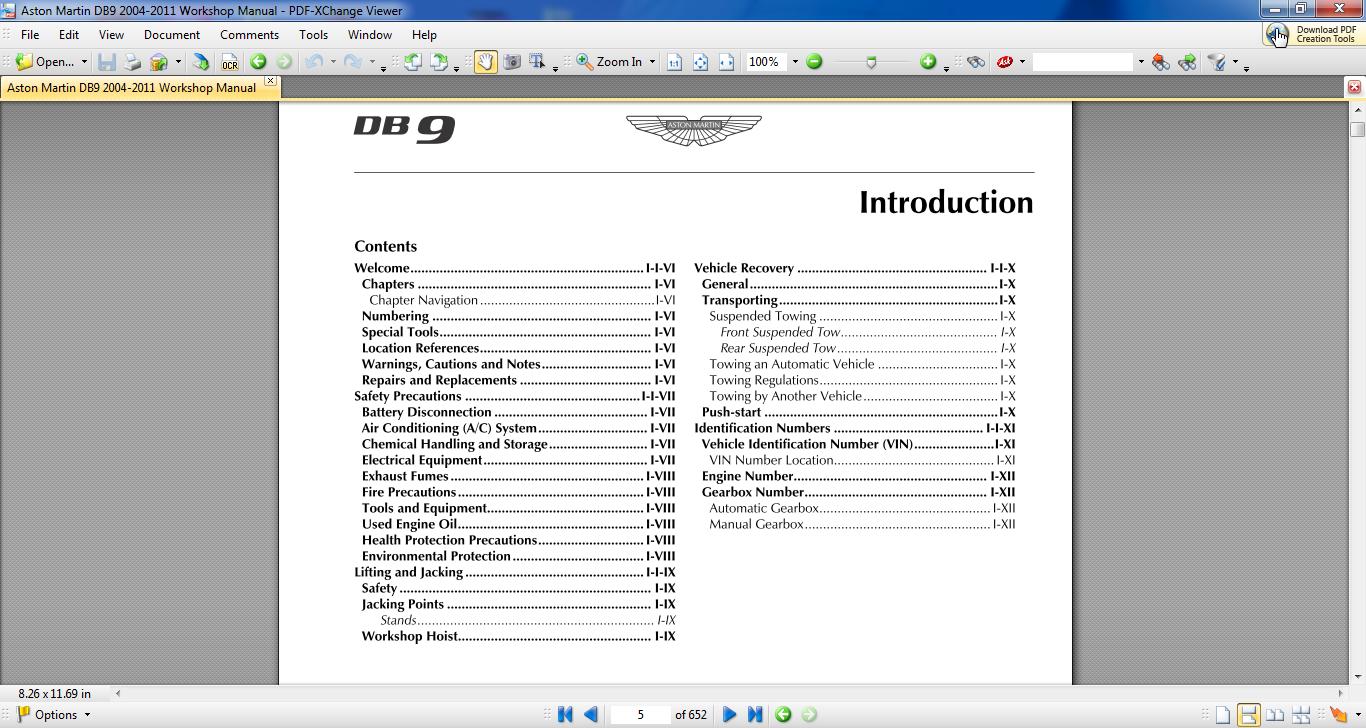 Aston Martin Db9 2004-2011 Workshop Manual