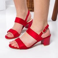 Sandale Samsel rosii cu toc gros