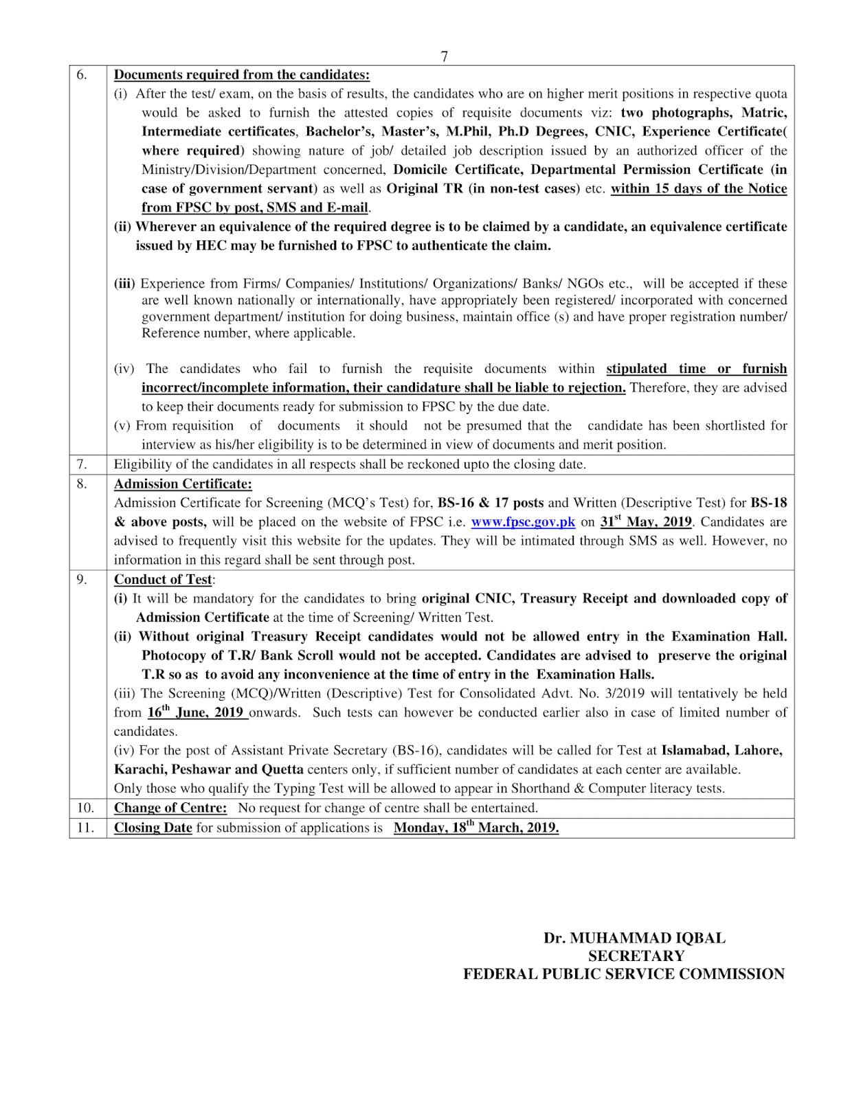 FPSC Advertisement 03/2019 Page No. 7/7