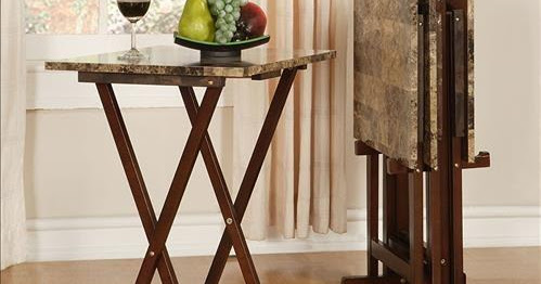 Linon Home Decor Tray Table Set Faux Marble Brown