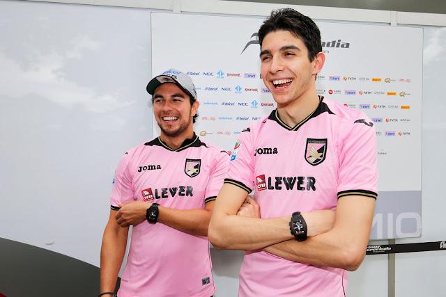 Esteban Ocon and Sergio Perez  and Sahara Force India