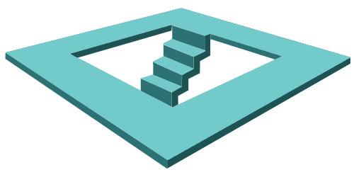 Kare yüzey üzerinde oluşturulmuş bir merdiven paradoksu