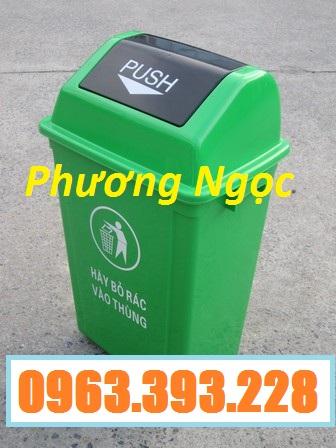 Thùng rác nhựa nắp bập bênh, thùng rác 60 Lít nắp lật, thùng rác công cộng NBB60L3