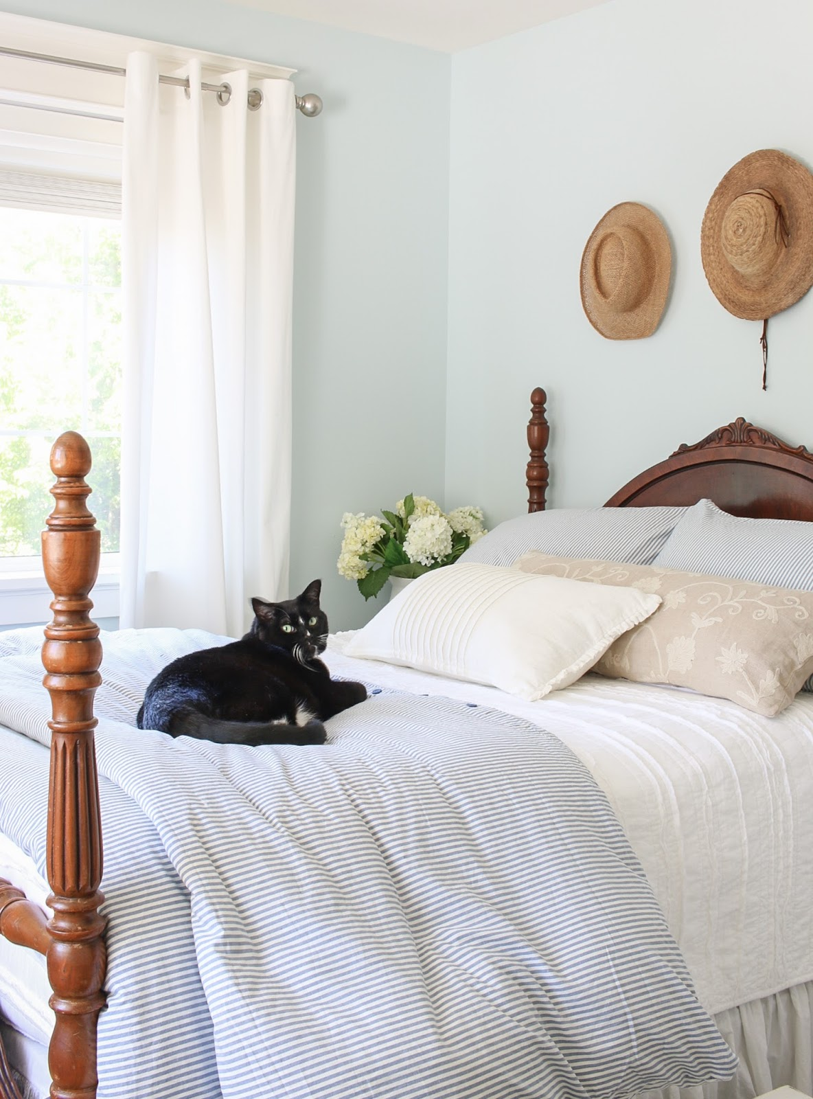 black cat on a bed with blue and white striped duvet cover