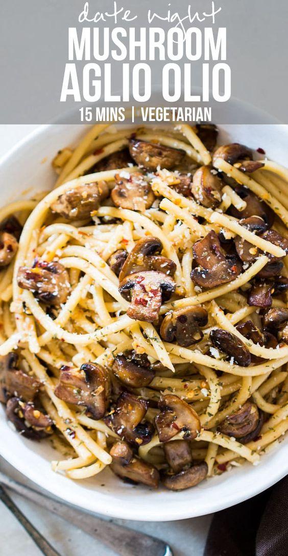 15 Minutes Mushroom Spaghetti Aglio Olio #maincourse #italian #dinner #quick #easy #mushroom #spaghett
