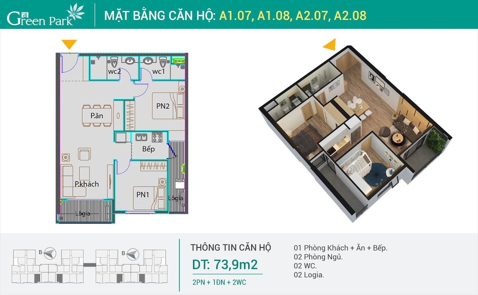 Thiết kế căn 2 phòng ngủ dự án PD Green Park