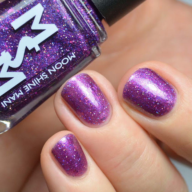 purple jelly nail polish with color shifting flakies and shimmer swatch
