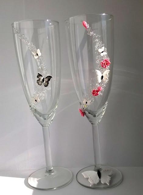 Pahare nunta cu fluturi