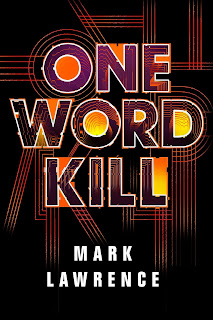Book cover - One Word Kill in orange and purple writing on a black background