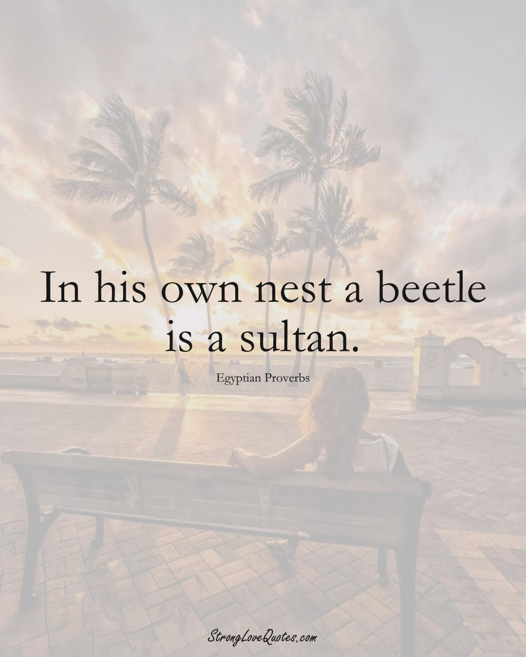 In his own nest a beetle is a sultan. (Egyptian Sayings);  #MiddleEasternSayings