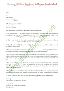 noc letter format from society for mortgage loan