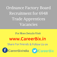Ordnance Factory Board Recruitment for 6948 Trade Apprentices Vacancies