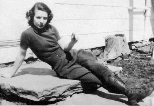 25 Fascinating Pictures Show How Cool Our Grandparents Used To Be - My Grandma Smoking Her Cigarette On The Farm. Wearing Pants And Doing Whatever The Hell She Wanted, 1938