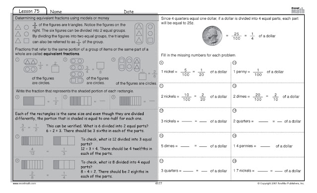 excel math identifying equivalent representations of fractions money. Black Bedroom Furniture Sets. Home Design Ideas