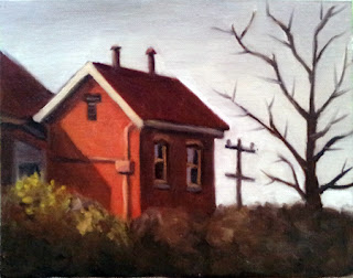 Oil painting of a red brick Victorian style building beside a leafless tree with a telephone pole in the background.