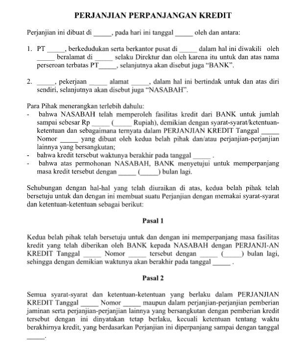 contoh surat perjanjian perpanjangan kredit yang resmi