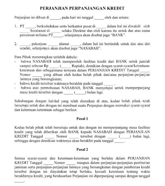 Contoh Surat Perjanjian Perpanjangan Kredit yang Resmi Format Word