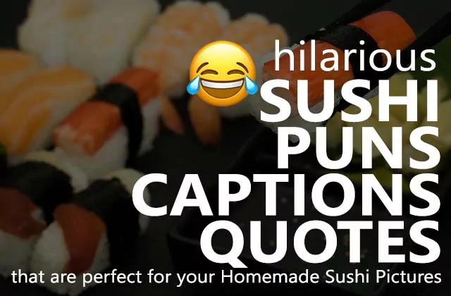 We have collected some best of the best hilarious sushi puns, Shushi captions for Instagram, and sushi quotes for homemade sushi pictures and photos.