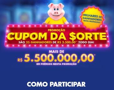 Cadastrar Promoção Tele Sena Cupom da Sorte 2020 - 25 Prêmios de R$ 2.500 Todo Dia