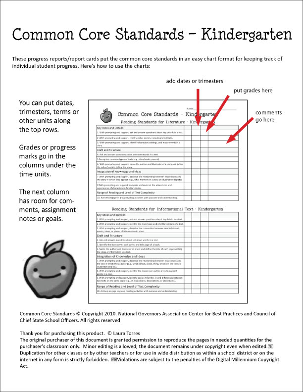 Common core report card template for First grade progress report template