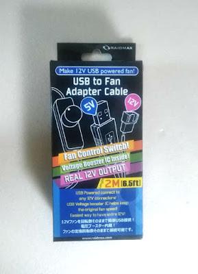 今回利用した、ファン用USB変換ケーブル(ファンコントローラー、昇圧機能あり)のパッケージ