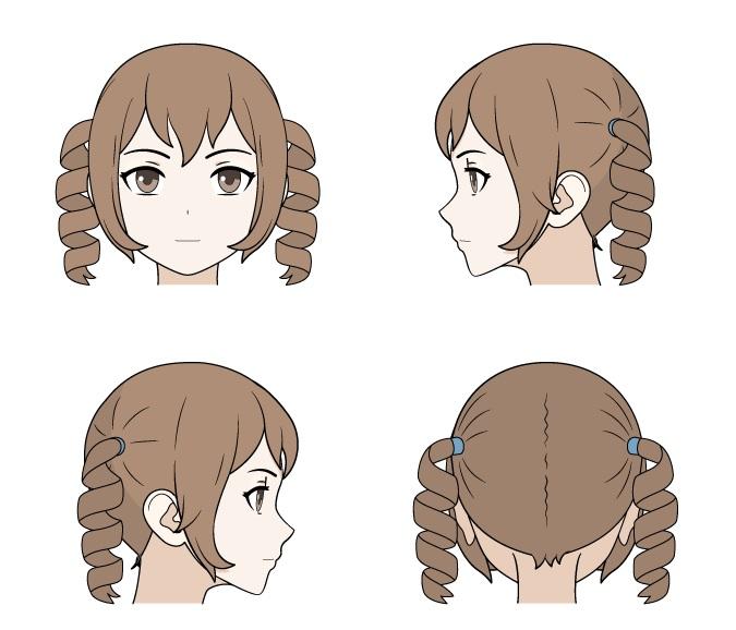 Menggambar rambut anime keriting tampilan depan, belakang dan samping