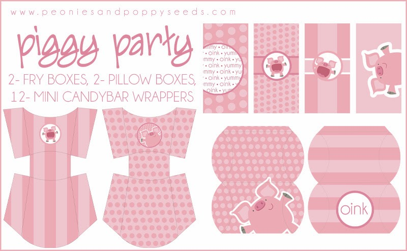Sweet Sweet Piggy Party Free Printable Kit. Free Printable Kit.