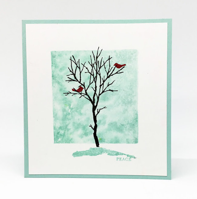 Cardinals in a Winter Tree by Paper Seedlings featured at Pieced Pastimes