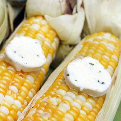 Grilled Corn with Garlic Chive Butter