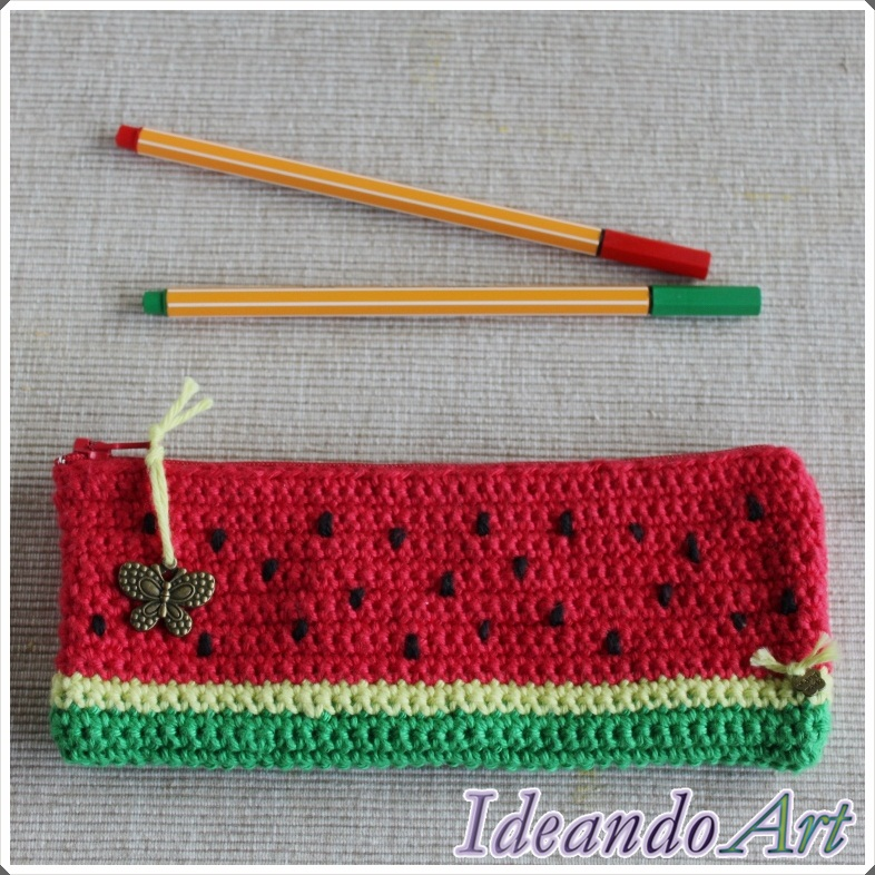 Estuche crochet sandía