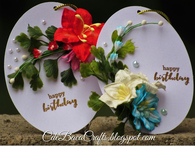 Handmade Happy Birthday Gift Tags with red and blue flowers by CdeBaca Crafts Blog